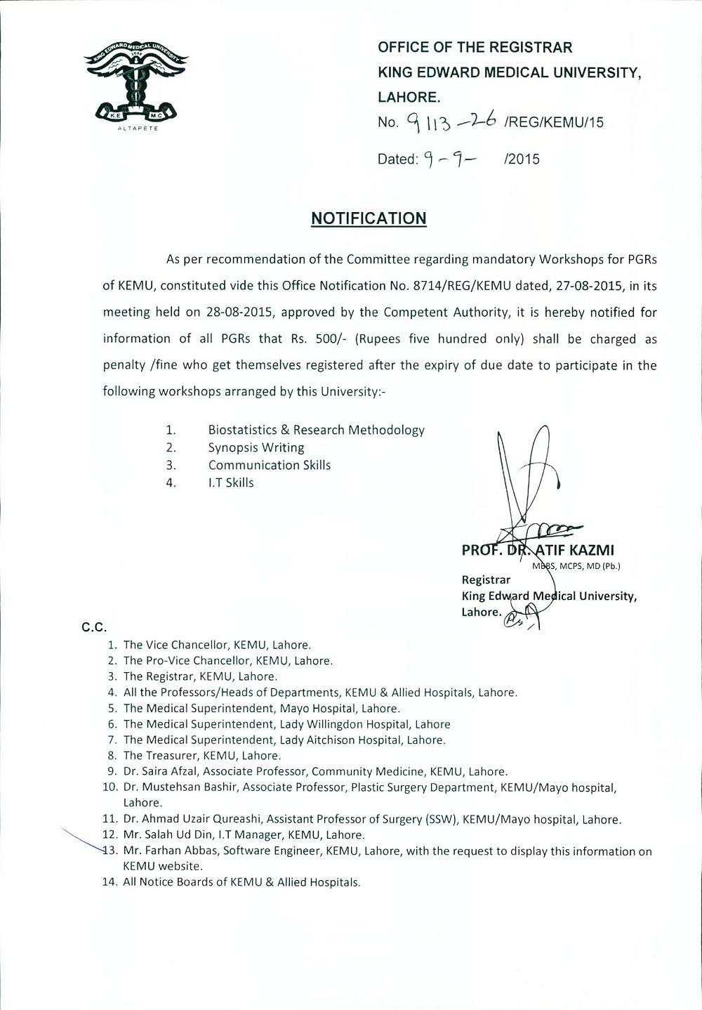 Notification-I for PGRs regarding Workshops
