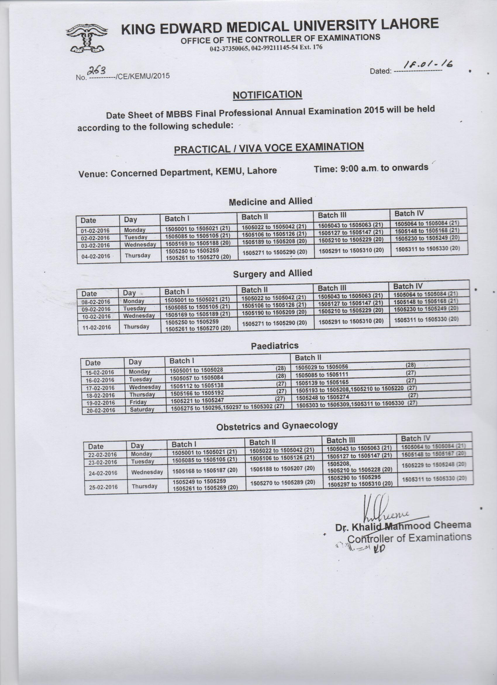 Date Sheet of Practical/ Viva Voce Examination MBBS Final Professional Annual Examination 2015