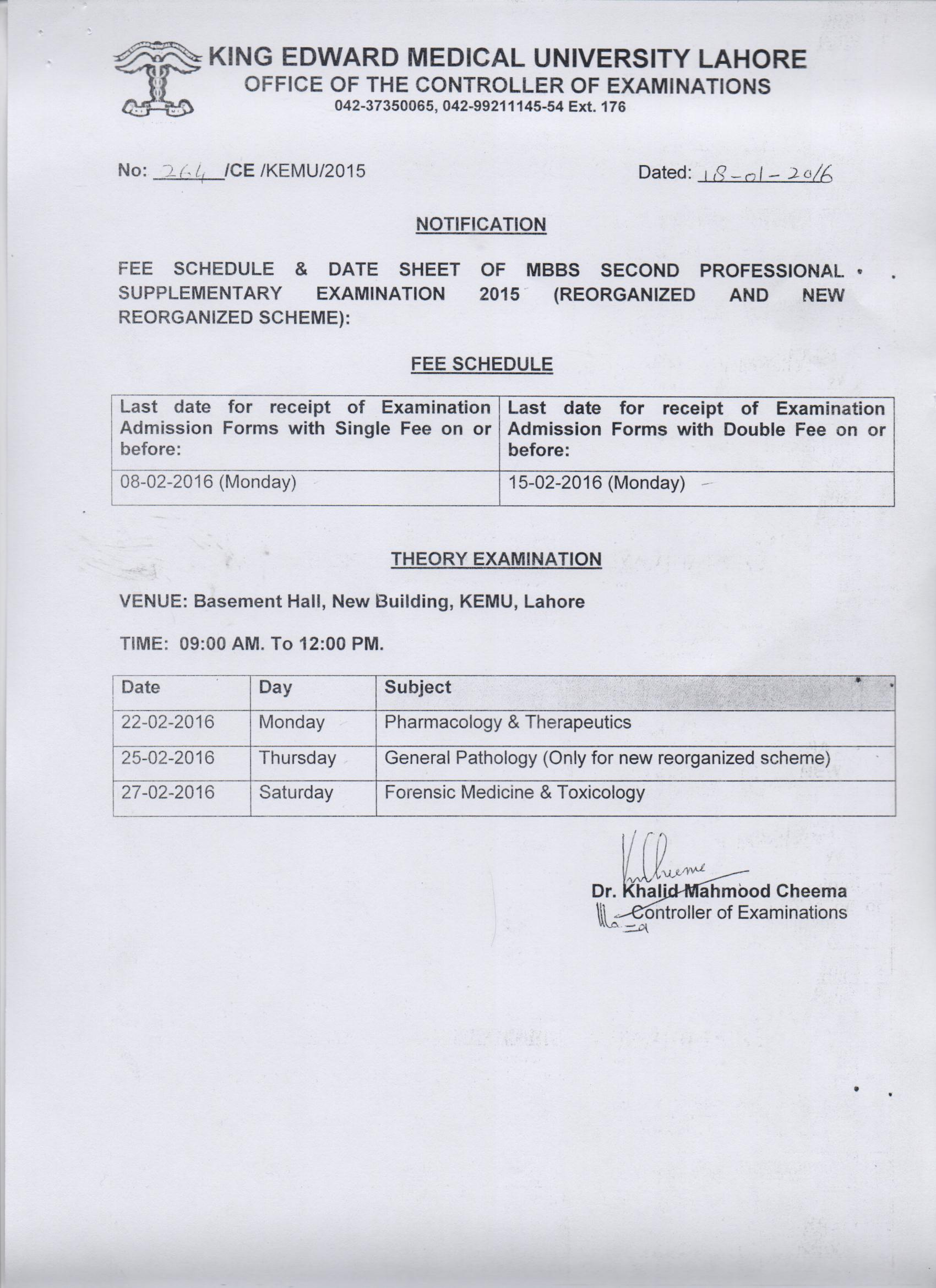 Fee schedule and Date Sheet of MBBS 2nd Professional supplementary Examination 2015