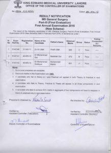 MS General Surgery FAE2015 (Ali, Gul, M. Siddique)