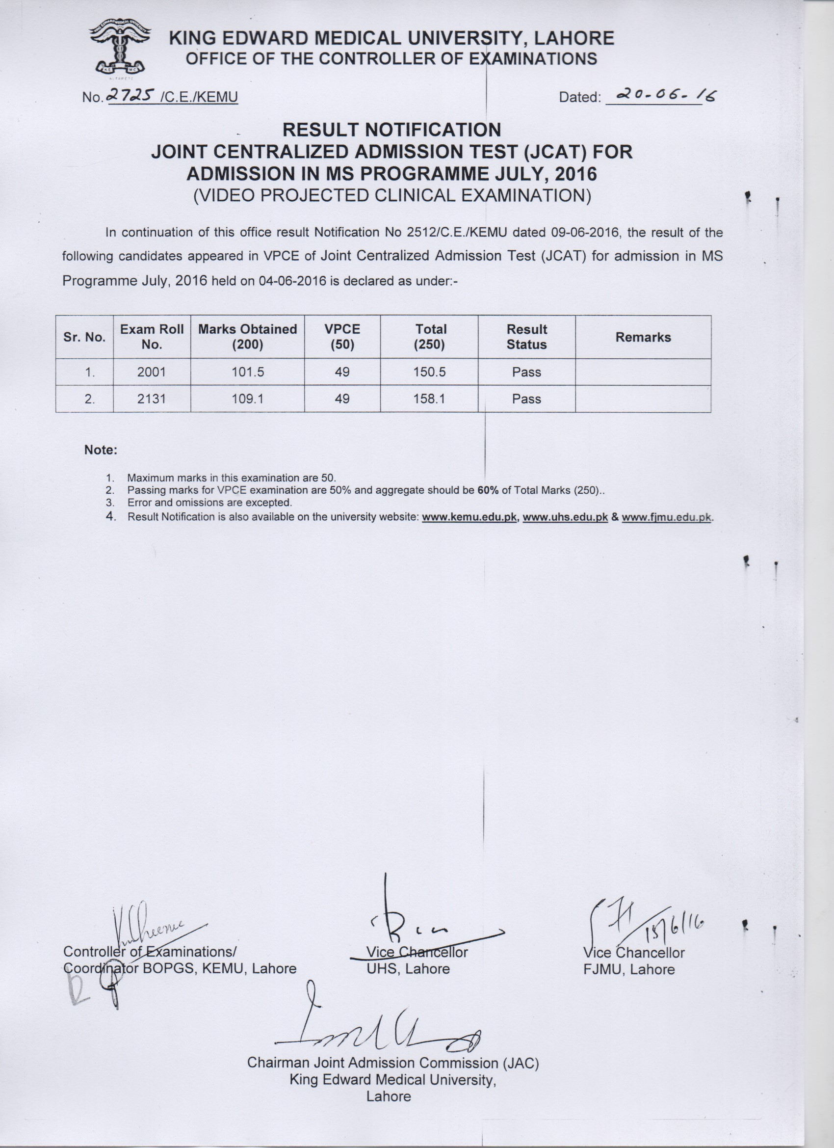 Result Notification of MS  for JCAT , 2016 (RL Candidate)
