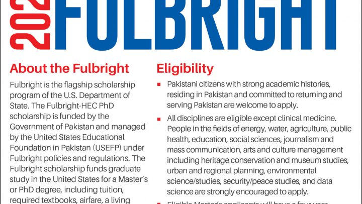 Fulbright MS and PhD Scholarships 2019