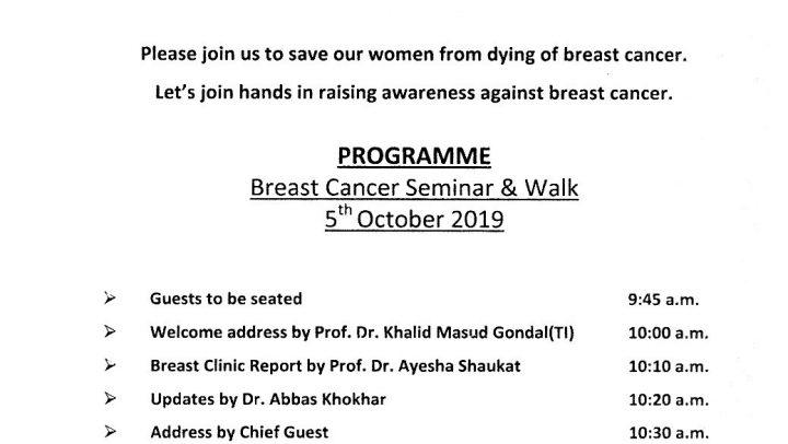 Walk for Breast Cancer Awareness on October 5, 2019